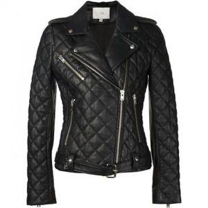 Iro Keroa Quilted Leather Moto Jacket, Black